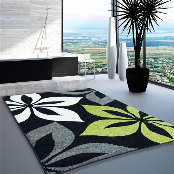 La Dole Rugs®  Floral European Rectangular Area Rug - 7' x 10' - Black/Grey