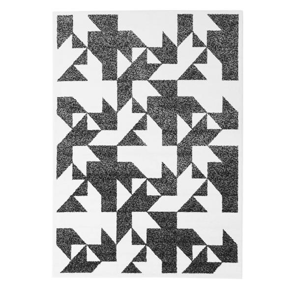 La Dole Rugs® Modern Contemporary Area Rug - 5' x 8' - Black/White