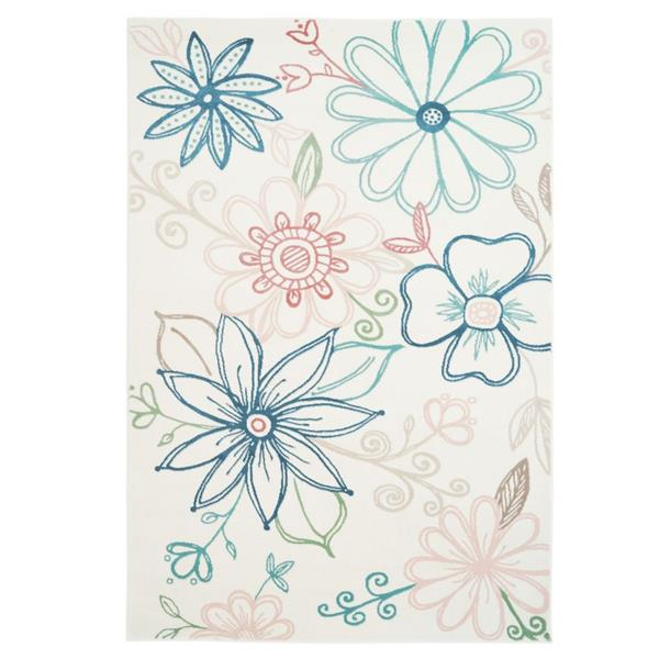 La Dole Rugs®  Daisy Floral Rectangular Area Rug  - 7' x 10' - Cream