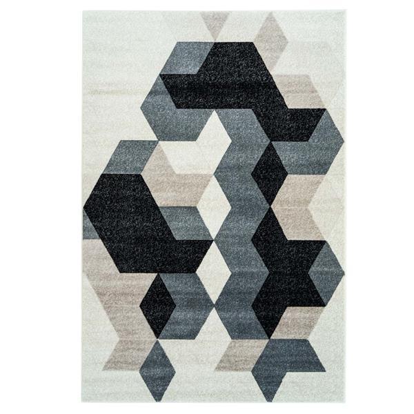 Tapis géométrique rectangulaire «Sultan», 4' x 6', noir