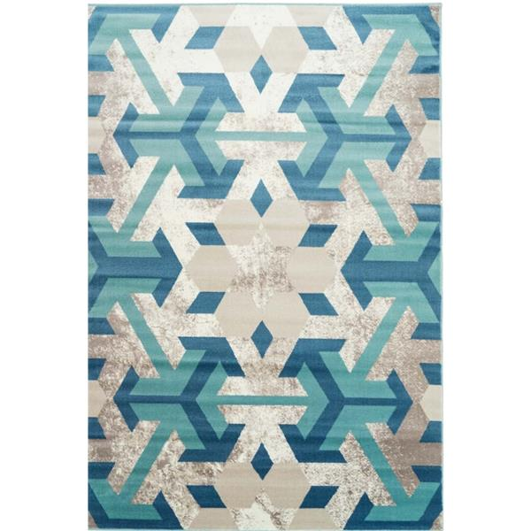 Tapis irlandais géométrique rectangulaire, 7' x 10', bleu