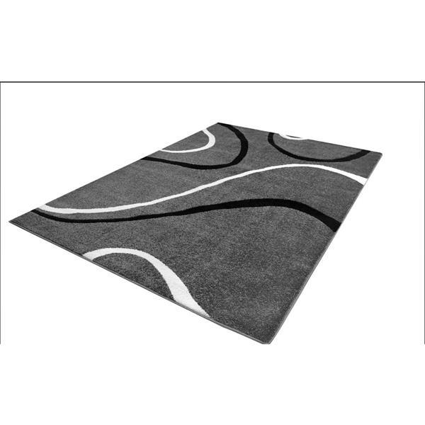 La Dole Rugs® Spiral Rectangular Area Rug - 7' 8-in x 10' 4-in - Grey/Black