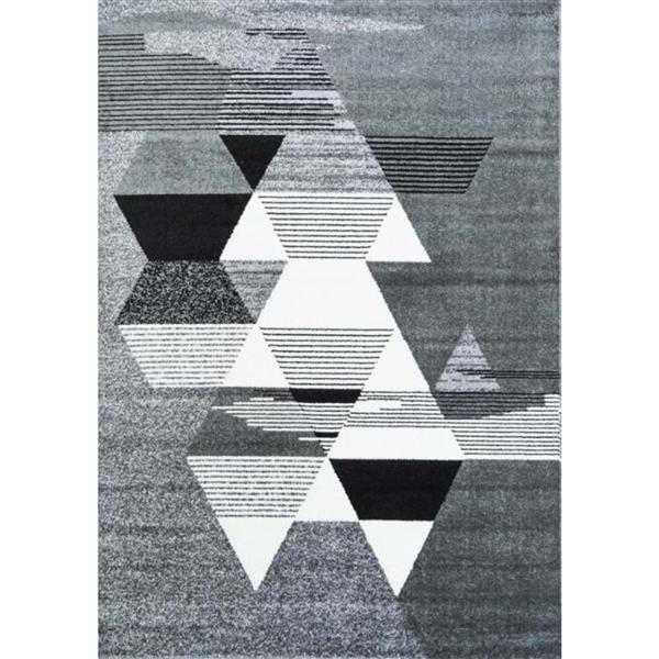 "La Dole Rugs®  Geometric Rectangular Area Rug - 6' 2"" x 9' 2"" - Grey/White"