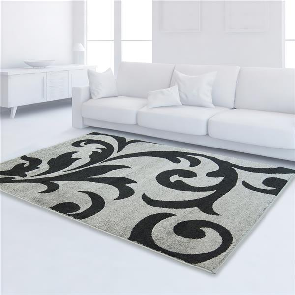 "La Dole Rugs®  Floral Rectangular Area Rug - 3' 9"" x 5' 2"" - Ivory/Black"