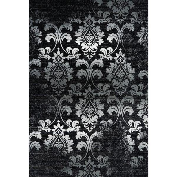 Tapis contemporain floral «Parma», 8' x 11', noir/gris