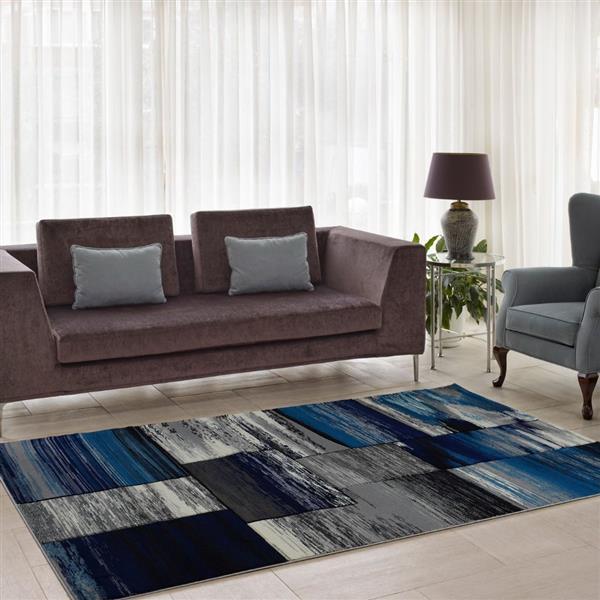 La Dole Rugs®  Copper Abstract European Area Rug - 3' x 10' - Black/Grey