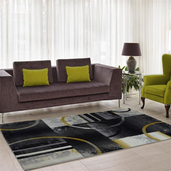 La Dole Rugs®  Geometric European Adonis Area Rug - 5' x 8' - Black/Grey
