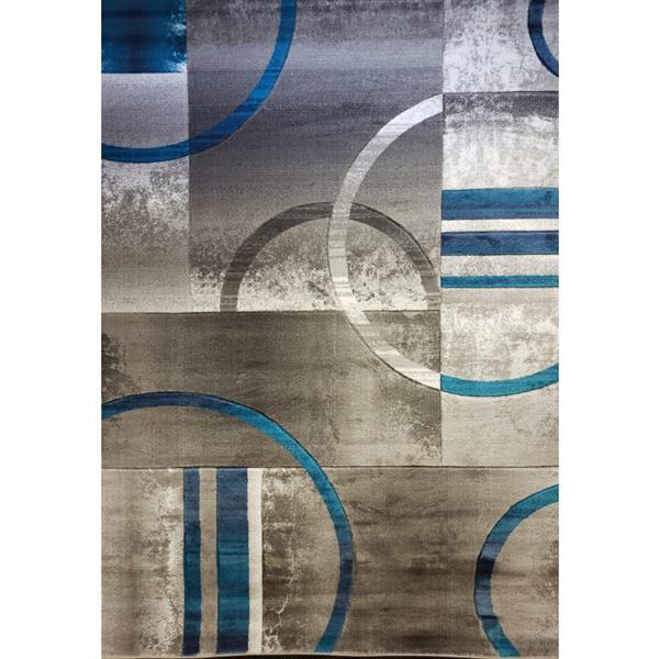 Tapis géométrique européen «Adonis», 3' x 10', bleu/gris