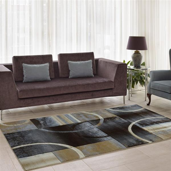 La Dole Rugs®  European Adonis Geometric Area Rug - 3' x 10' - Grey/Black