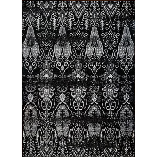 Tapis géométrique contemporain rectangulaire, 5' x 8', noir