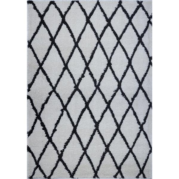La Dole Rugs®  Geometric Trellis Area Rug - 5' x 8' - Ivory/Dark Grey