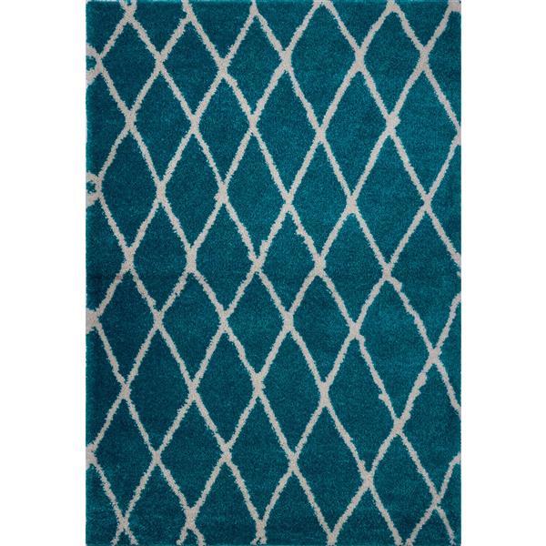 Tapis géométrique «Trellis», 7' x 10', turquoise/ivoire
