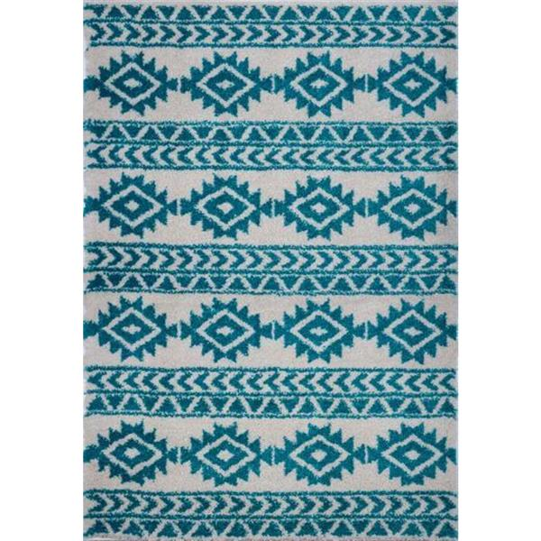 Tapis créatif simple «Treillis», 8' x 11', turquoise/ivoire
