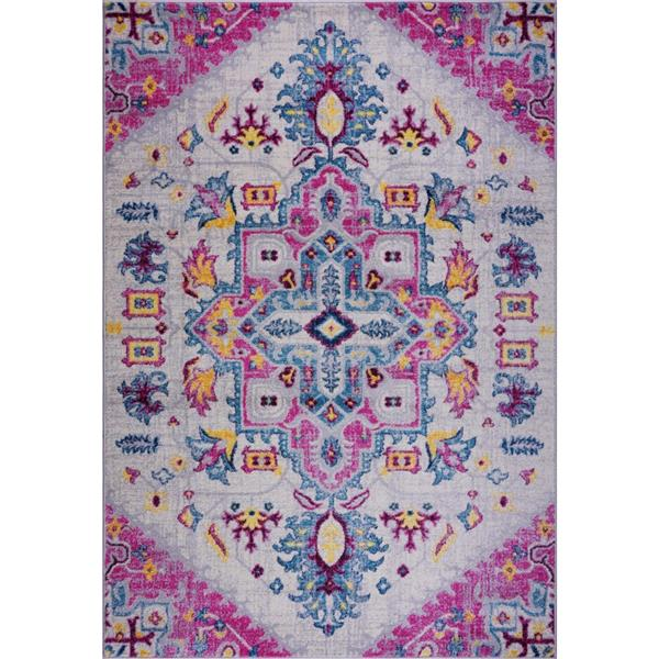 La Dole Rugs® Shareen Area Rug - 3.9' x 5.6' - Polypropylene - Pink/Multi