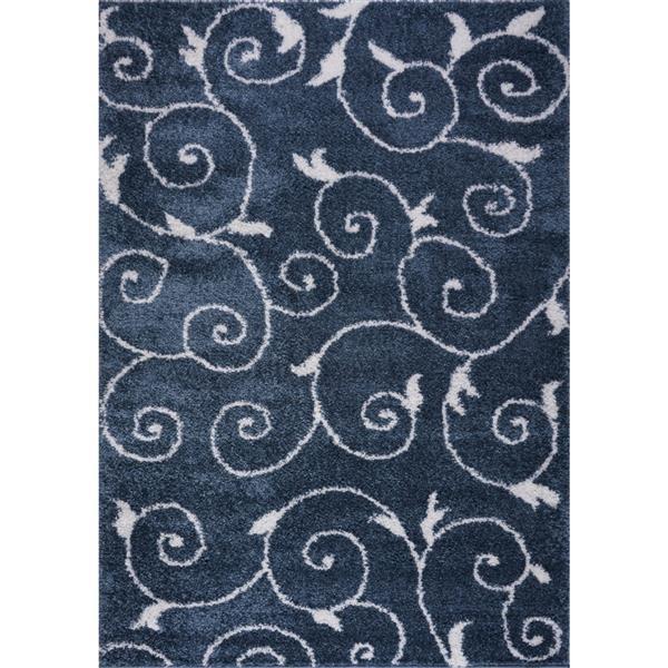La Dole Rugs® Rabat Area Rug - 3.9' x 5.6' - Polypropylene - Blue/White