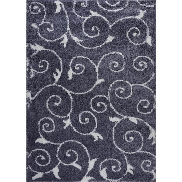 La Dole Rugs® Rabat Area Rug - 6.4' x 9.4' - Polypropylene - Gray/White