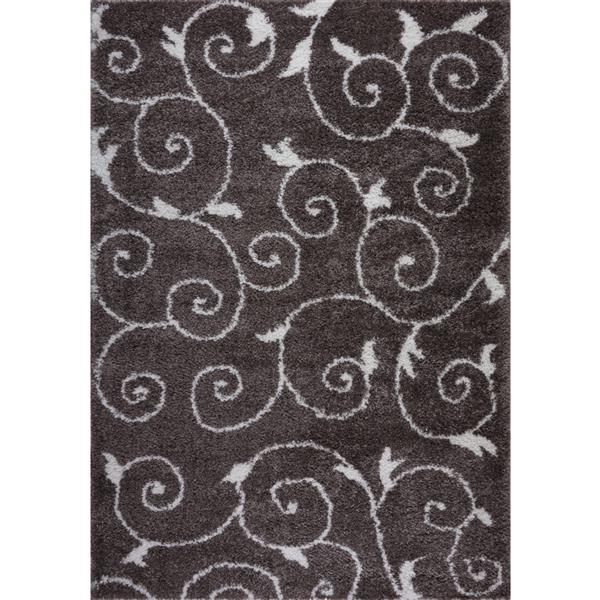 La Dole Rugs® Rabat Spirals Area Rug - 2.6' x 9.8' - Polypropylene - Brown