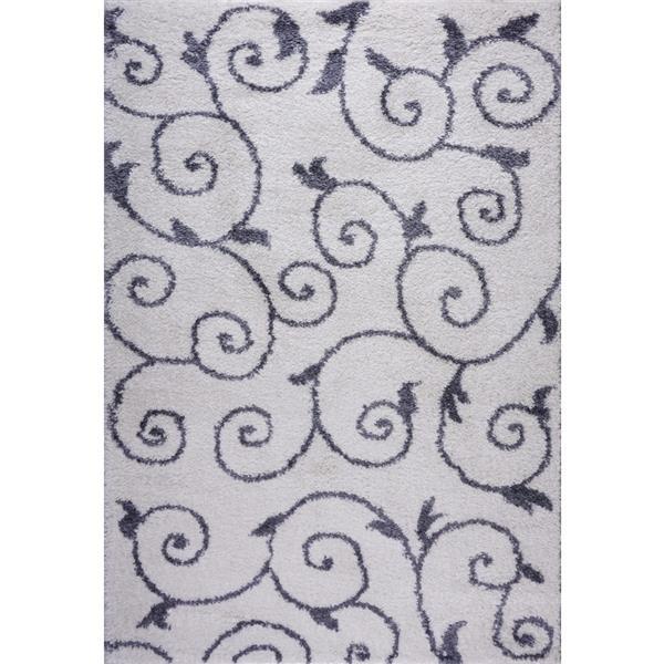 La Dole Rugs® Rabat Rug - 6.4' x 9.4' - Polypropylene - White/Dark Gray