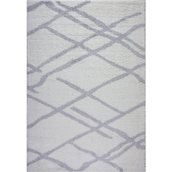 Tapis Tangier, 5,3' x 7,5', polypropylène, blanc/gris foncé