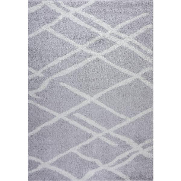 La Dole Rugs® Tangier Area Rug - 2.6' x 9.8' - Polypropylene - Gray/White