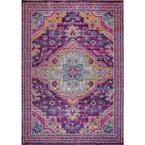 Tapis Elson, 5,3' x 7,5', polypropylène, violet/rose