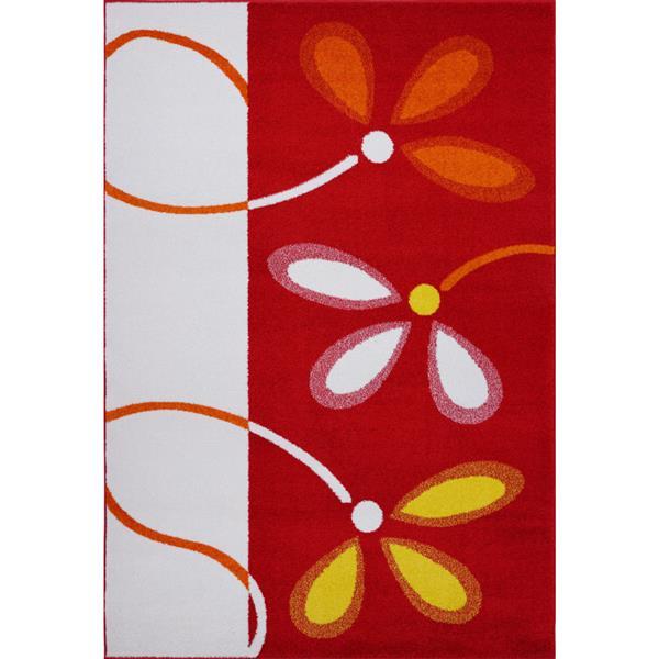 Tapis floral, 3,9' x 5,6', polypropylène, rouge/crème