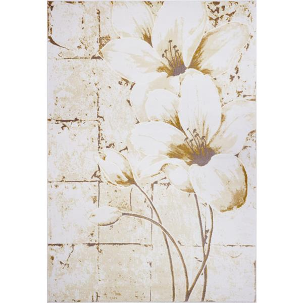 Tapis floral, 5,3' x 7,5', polypropylène, beige/crème