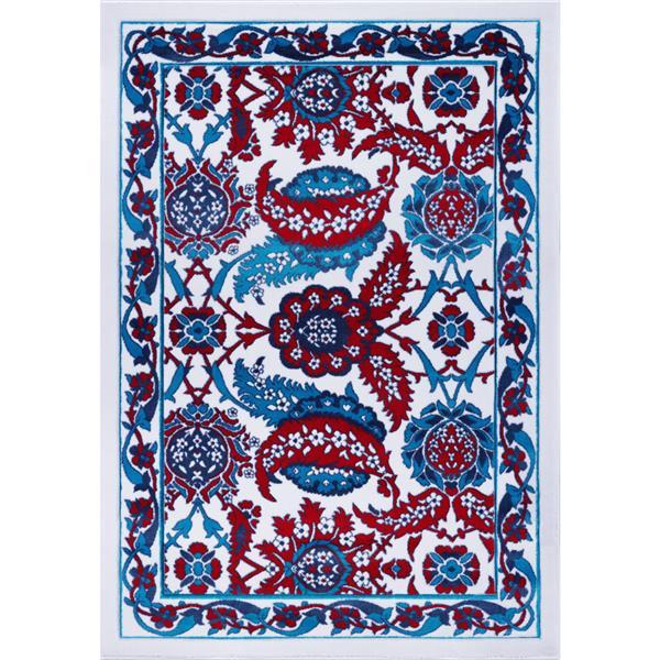 Tapis Vincenza, 2,6' x 9,8', polypropylène, bleu/rouge