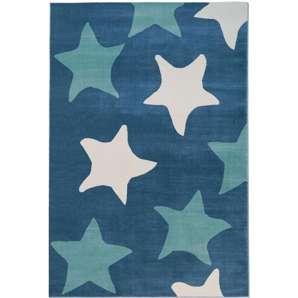 Tapis avec étoiles, 7,8' x 10,4', polypropylène, blanc/bleu