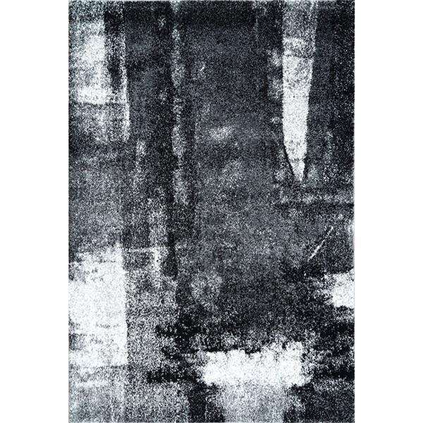 Tapis abstrait, 6,4' x 9,4', polypropylène, noir/blanc