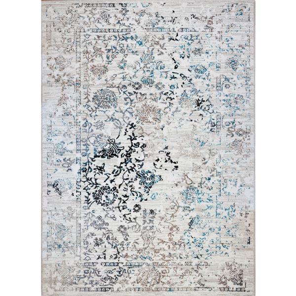 Tapis Whitehaven, 6,4' x 9,4', polypropylène, blanc/bleu