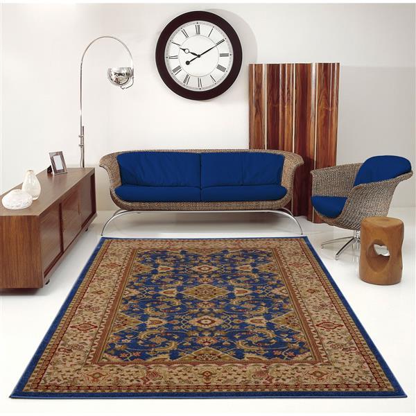 La Dole Rugs® Traditionnal Rug - 3.9' x 5.6' - Polypropylene - Blue/Cream