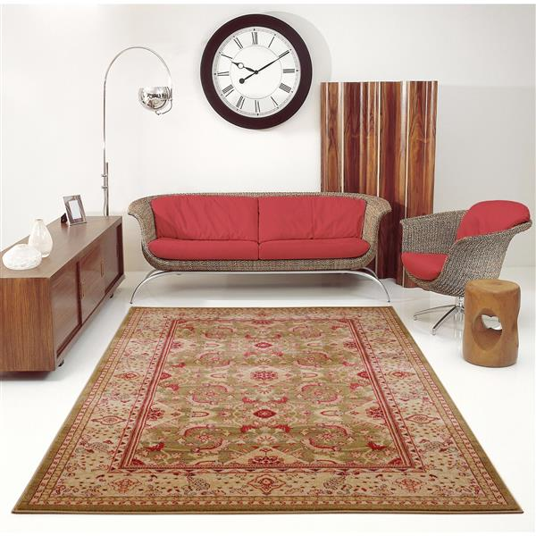 La Dole Rugs® Traditionnal Rug - 3.9' x 5.6' - Polypropylene - Mustard/Red