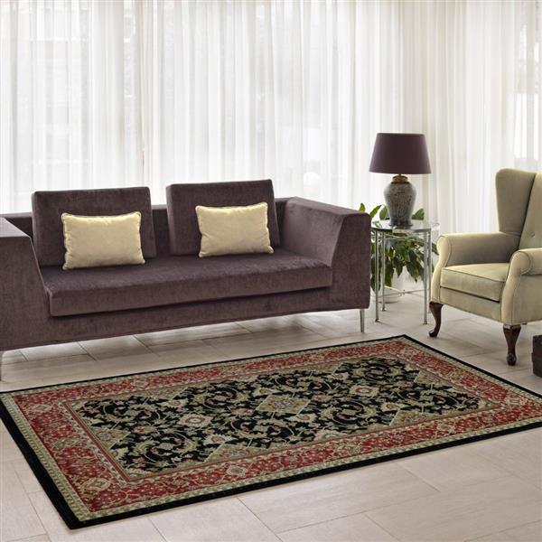 La Dole Rugs® Traditionnal Rug - 3.9' x 5.6' - Polypropylene - Black/Red
