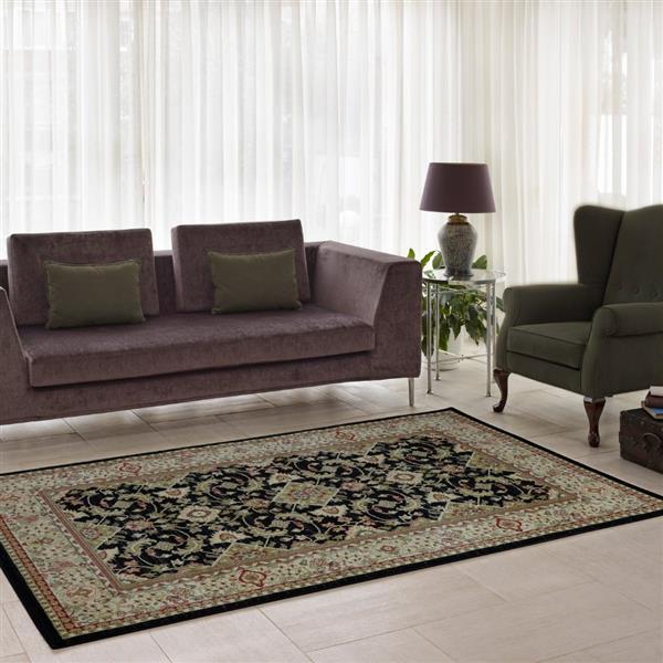 La Dole Rugs® Traditionnal Rug - 3.9' x 5.6' - Polypropylene - Black/Cream