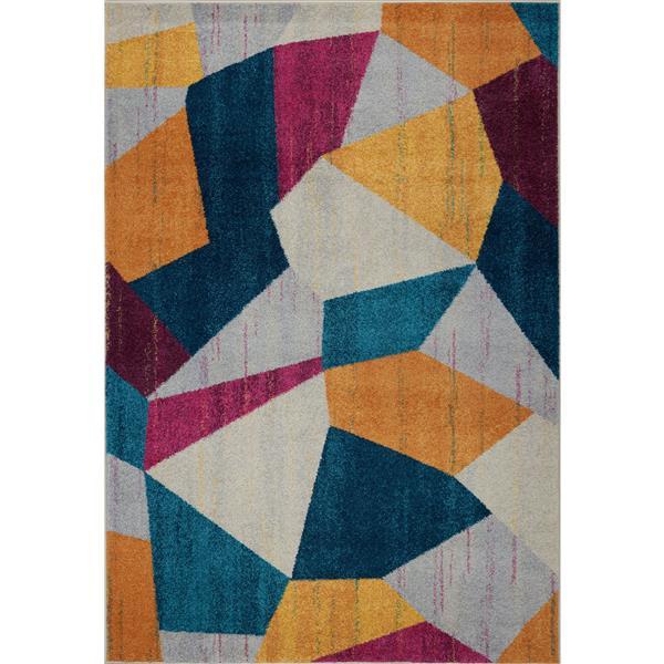 Tapis géométrique, 2,6' x 4,9', polypropylène, bleu/jaune