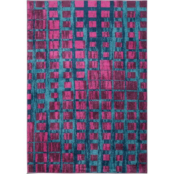 Tapis géométrique, 2,6' x 9,8', polypropylène, rose/bleu