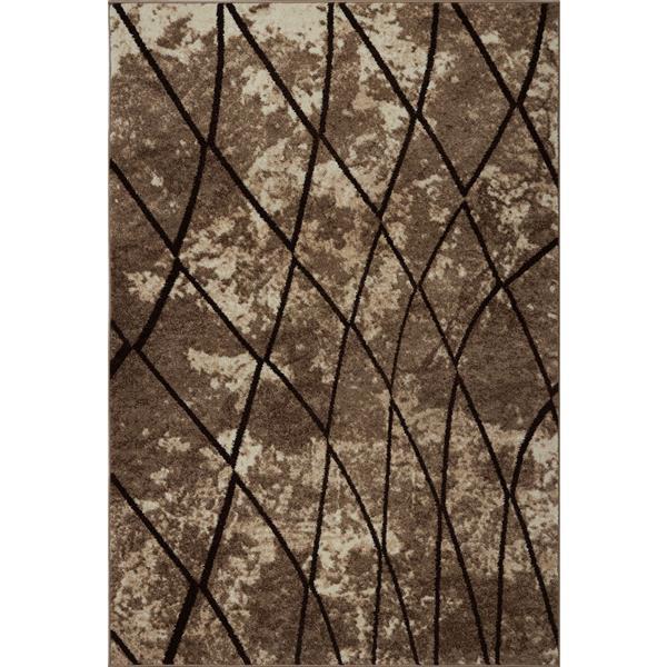 Tapis géométrique, 7,8' x 10,4', polypropylène, beige foncé