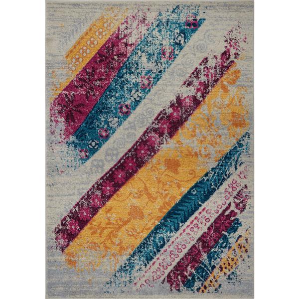 Tapis abstrait, 1,8' x 2,9', polypropylène, multicolore