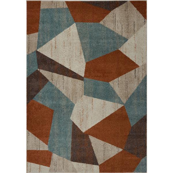 Tapis géométrique, 6,4' x 9,4', polypropylène, multicolore