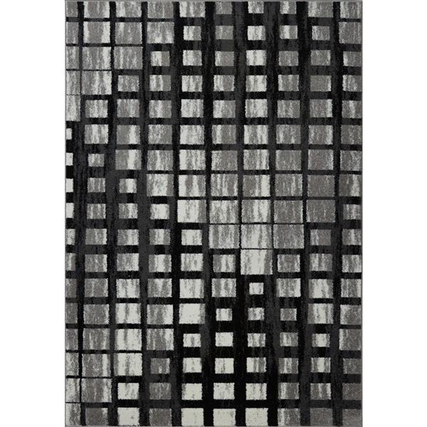 Tapis géométrique, 2,6' x 9,8', polypropylène, gris