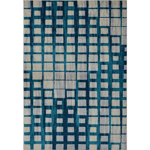 Tapis géométrique, 1,8' x 2,9', polypropylène, bleu/beige