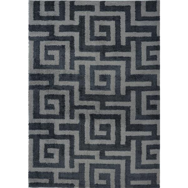 Tapis abstrait Calgary, 2,6' x 9,8', microfibre, gris