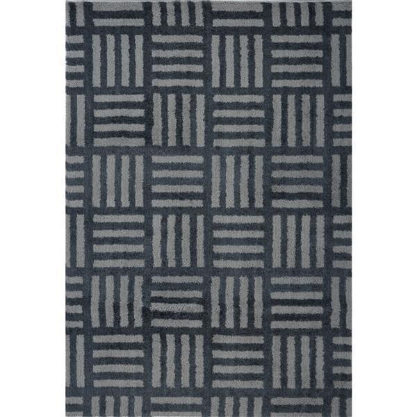 Tapis abstrait Oknagon, 2,6' x 4,9', microfibre, gris