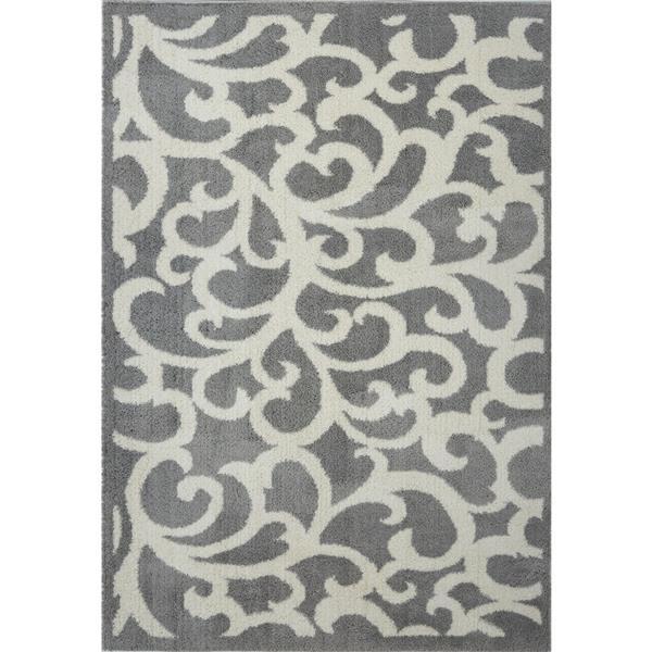 Tapis abstrait Nanaimo, 5,3' x 7,5', microfibre, gris