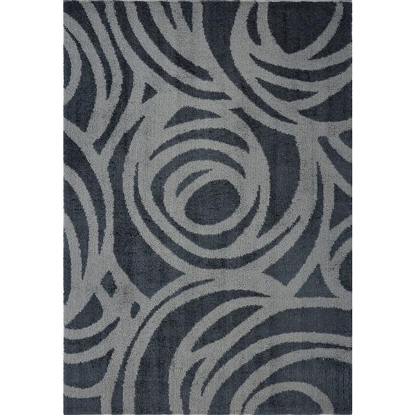 Tapis abstrait Victoria, 5,3' x 7,5', microfibre, gris