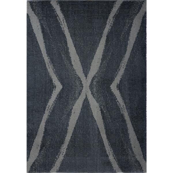 Tapis abstrait Vancouver, 5,3' x 7,5', microfibre, gris