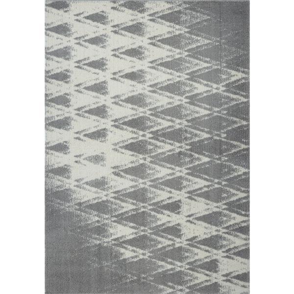 Tapis abstrait Burnaby, 7,8' x 10,4', microfibre, gris