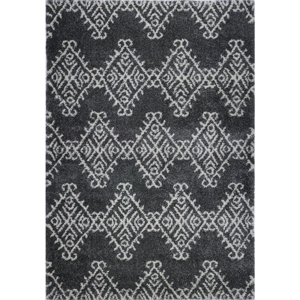 La Dole Rugs®  Geometric Rug - 6.4' x 9.4' - Polypropylene - Gray/Ivory