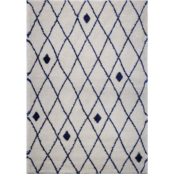 La Dole Rugs®  Area Rug - 5.3' x 7.5' - Polypropylene - Ivory/Navy Blue